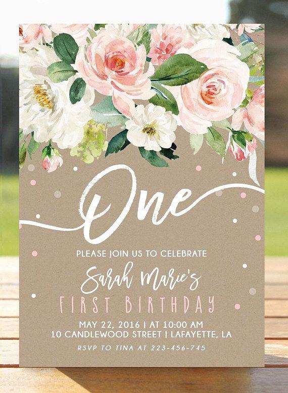 Printable digital DIY. 1st first birthday boy girl bday invitations Flower floral Birthday party invite with photo Birthday Invitation