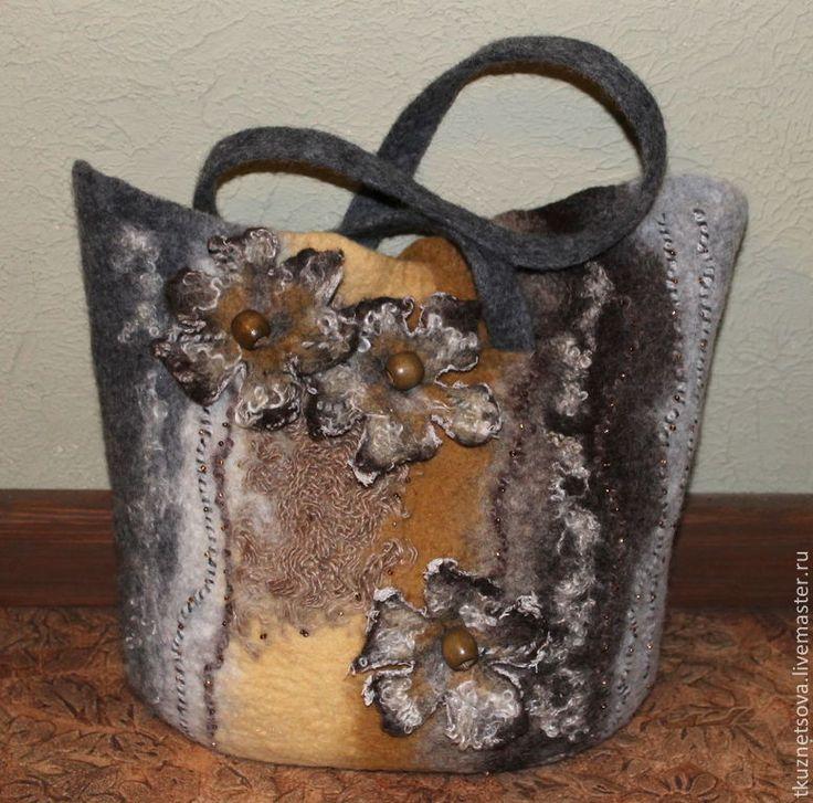 Купить Сумка валяная Осенний пляж - сумку валяную купить, сумку купить валяную ♡