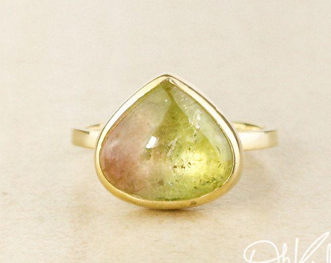 Bright Watermelon Tourmaline Teardrop Ring - Heirloom Ring - Statement ring
