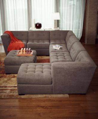 Roxanne Fabric 6-Piece Modular Sectional Sofa (Corner Unit, Chaise, 3 Armless Chairs & Ottoman)