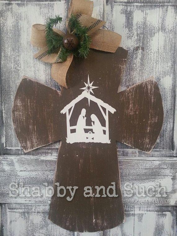 Cross Christmas Nativity Scene Distressed by shabbyandsuchdesigns