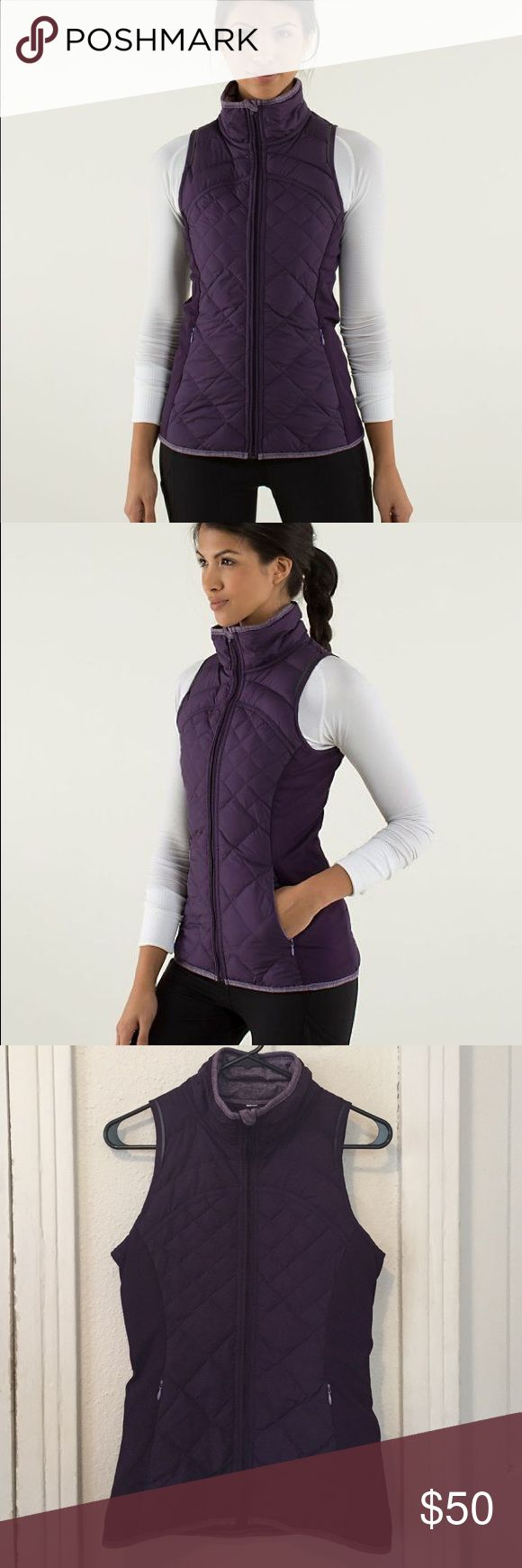 Lululemon fluff off vest Purple Lululemon vest in good conditions no rips or pilling. Size 6. lululemon athletica Jackets & Coats Vests