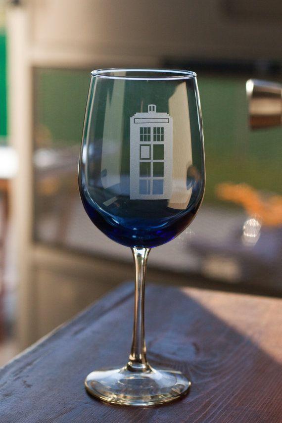 Tardis Blue Dr. Who SINGLE tardis wine by evanchandlerdesigns