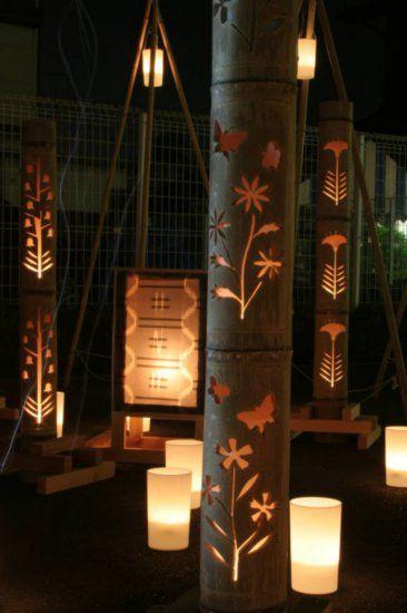 carved candlit bamboo - isesaki light festival, japan