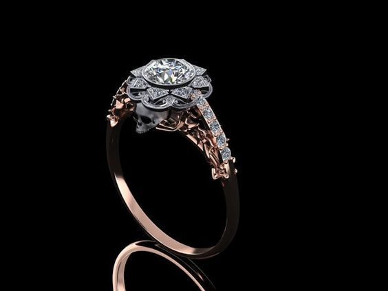 Victorian Style Skull Engagement Ring With Por Adamfosterjewelry