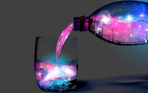 This is very colourful and cool; it's like pouring a glass of magic or a galaxy. I really like the blue and pink colour combinations and the bright white areas that seem to glow. I also like how at the place where stream of fluid meets the surface of liquid in the glass there is a translucent, blue light being emitted. The black shadows along the underside of the bottle and the bottom right corner of the glass are really effective in giving them form.