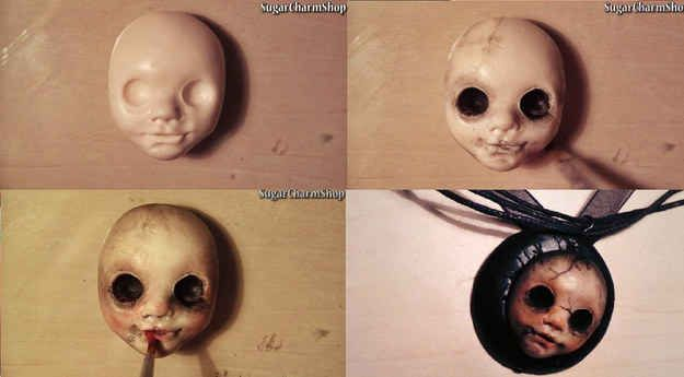 Get your creep on with a scary doll pendant. | 19 Awesome Craft Projects You Can Make With Polymer Clay