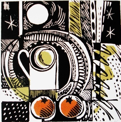 """Double orange"" by Jane Walker. Linocut - Edition:50 - Image size (mm) 150x150, Mounted print, £75.00 ~ www.janewalkerprintmaker.com"