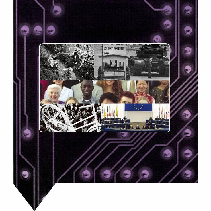 Begrijp het beeldmerk van de periode van Televisie en Computer, 1950-2000 Op de achtergrond zie je de printplaat van een computer en op de voorgrond de televisie, die zich na 1950 tot een indringend massamedium ontwikkelde. De raket is een wapen, maar brengt ook satellieten naar de ruimte die een snelle communicatie in de wereldwijde informatiemaatschappij mogelijk maken.