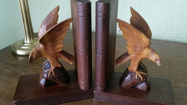 Buchstützen Adler Vogel handgeschnitzt Holzarbeit 50er 60er