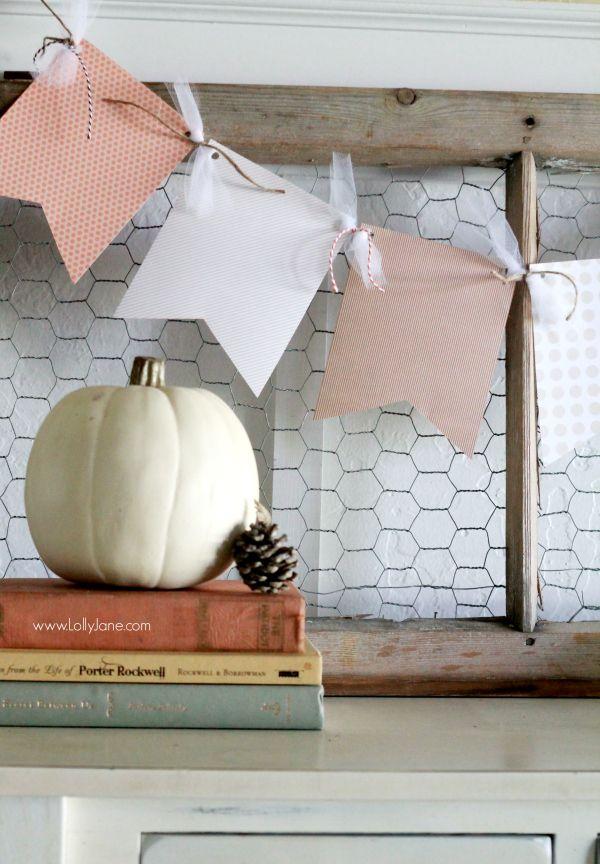 An easy fall paper bunting tutorial. A quick home decor idea or cheap gift idea!