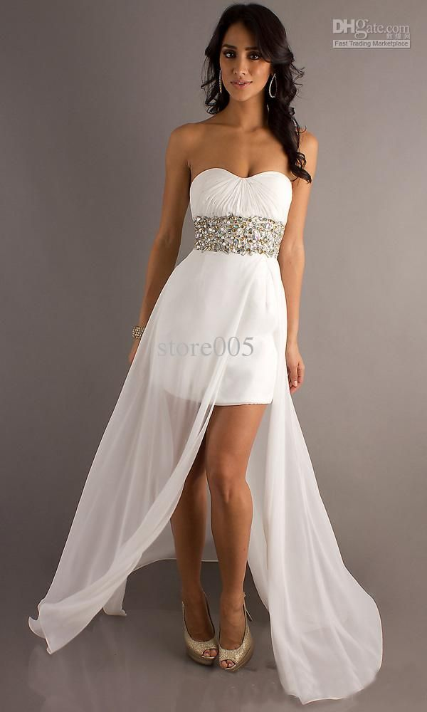 White prom dress short in front long in back