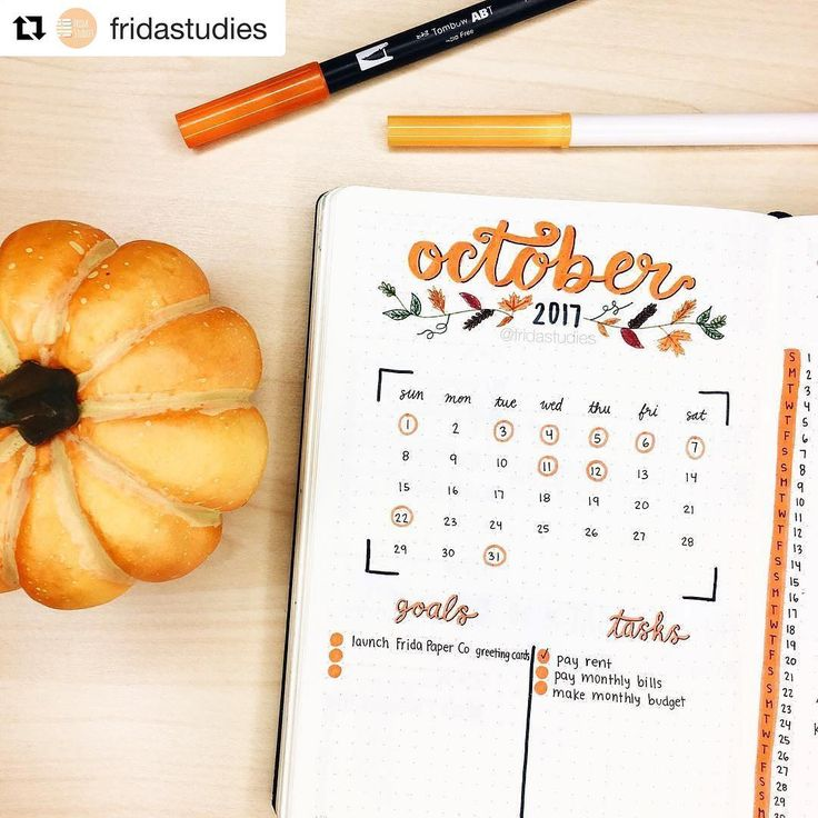 I'm in love with how autumnal FridaStudies October monthly looks  from bujob… – Sarah Hribar