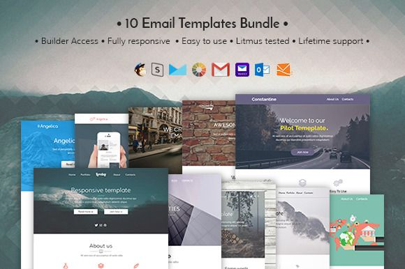 10 Email  templates bundle + Builder @creativework247