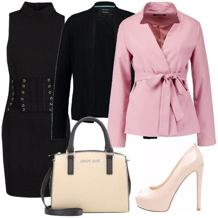 Per una serata con il proprio fidanzato, ho scelto questo outfit composto da un vestito nero, un cardigan nero ed un blazer rosa. Completano il look una borsa e un tacco 12 rosa.