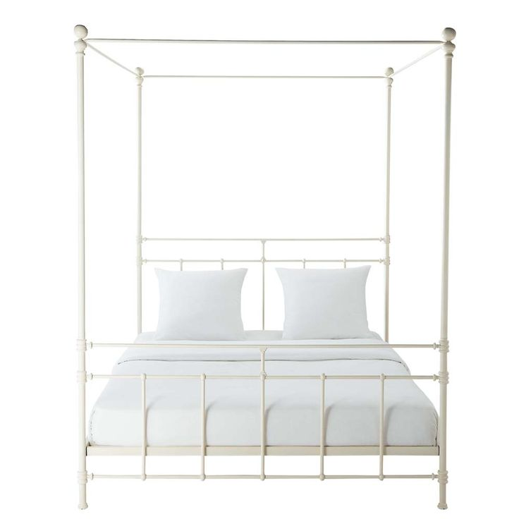 Metal 160 x 200cm king size four-poster bed in white Syracuse