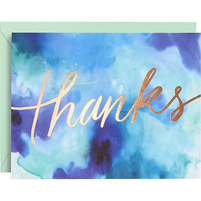 Flowing gold foil script dances across the front of these thank yous, letting the design speak for you! A rich wash of blue watercolor is a stunning backdrop. - Set of 10 cards - 10 mint envelopes - 4