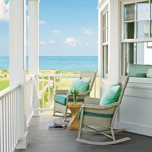 I could sit here with a good book and a cold drink all day long.  The perfect picture of relaxation!: At The Beaches, House Tours, Rocks Chairs, Beaches House, Beaches Home, The Ocean, Dreams House, Dreams Porches, Front Porches