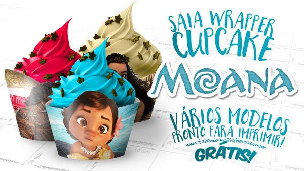 Saia Wrapper para Cupcake Moana, vários modelos, de vários personagens do filme para você imprimir de graça e usar na sua festa, totalmente grátis