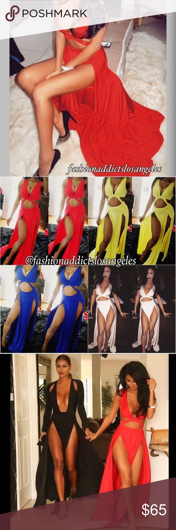 """✨""""HOLLYWOOD Girl"""" Double Thigh High Slit Maxi✨ COLORS AVAILABLE: TRUE Red Royal Blue Peach Yellow Black Cream  PLEASE COMMENT BELOW FOR THE COLOR & SIZE YOU WANT TO ORDER.   This dress is seen on MANY CELEBRITIES  This is a BAD A** DRESS Dolls!!! Definitely a SHOW STOPPER! I had both women and men coming up to me all day telling me how much they love this dress!!!! Brand for exposure only!!ALL DRESS ARE BRAND NEW!Tags: Nasty Gal, ANGL, Forever 21, Bebe, Naked wardrobe, Zara, Asos, Los…"""