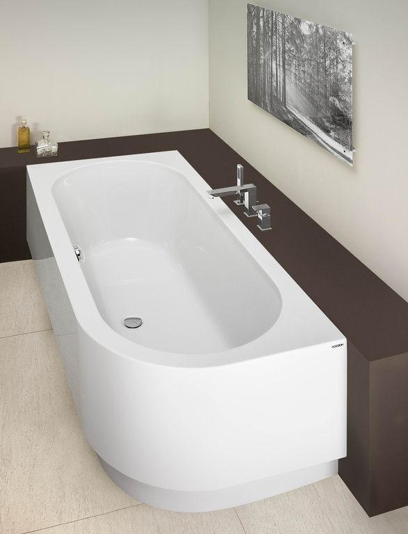Deco Chambre Peinture : de l espace baignoire d angle bois et gris foncé baignoire d angle