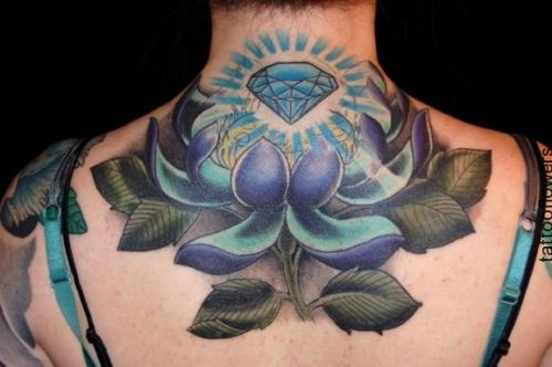 Purple And Blue Lotus Tattoo...
