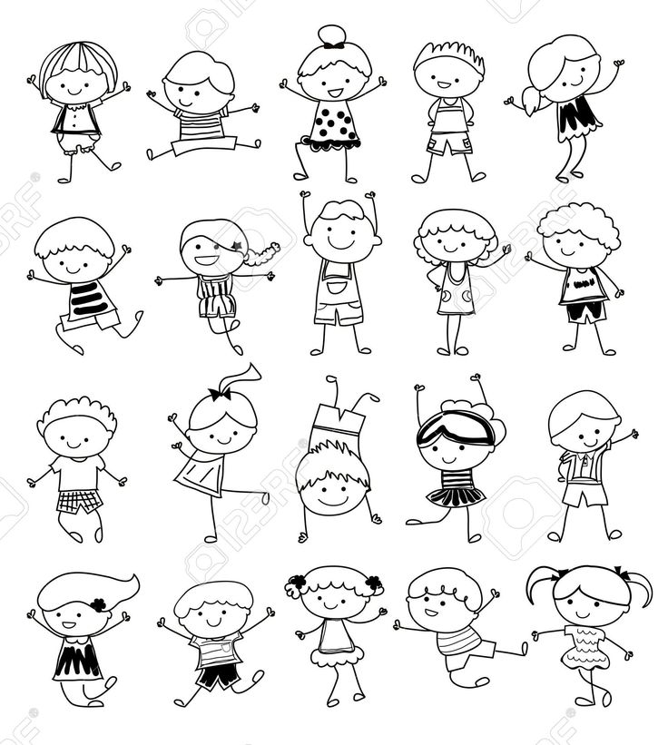 Drawing Sketch - Group Of Kids Royalty Free Cliparts, Vectors, And Stock…