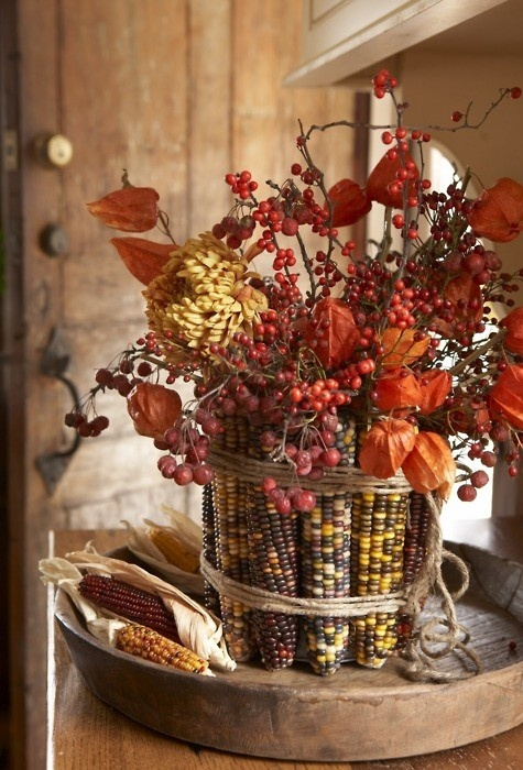 Kristen's Creations: Fall Inspiration From PinterestFall Floral, Fall Decor, Indian Corn, Autumn, Tables Centerpieces, Thanksgiving Centerpieces, Fall Flower, Thanksgiving Tables, Rubber Band