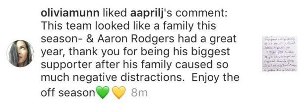 Olivia Munn is Perpetuating Aaron Rodgers' Family Drama -- If there was any question if Olivia Munn was involved in Aaron Rodgers' family drama, this at least shows that she isn't doing anything to stop it.