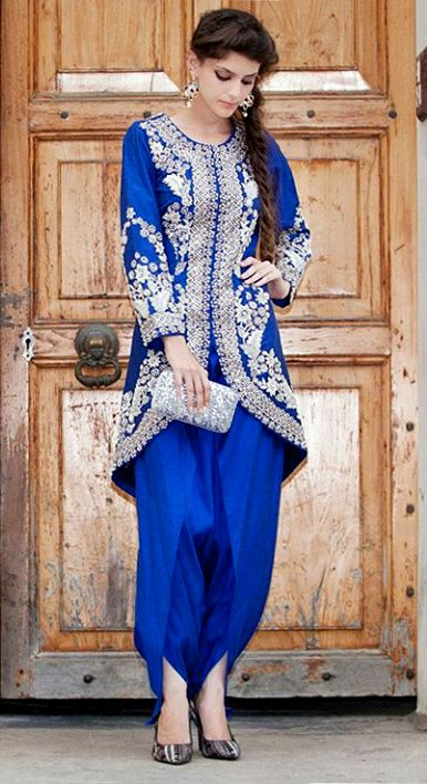 blue suit with dhoti salwar