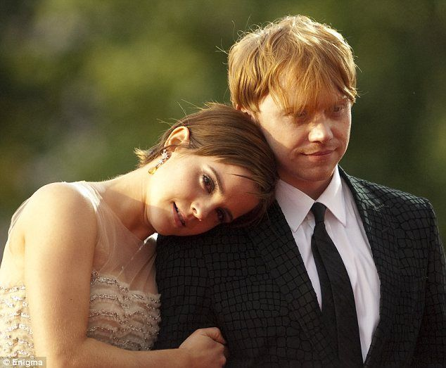 Emma Watson and Rupert Grint (Hermione and Ron) share a touching moment at the final premiere of Harry Potter