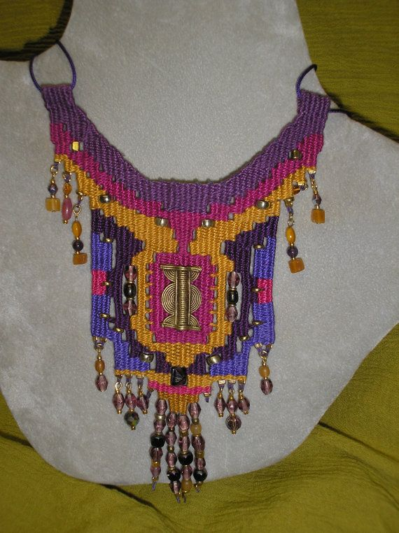African Brass Baoule Woven Necklace 757 via Etsy
