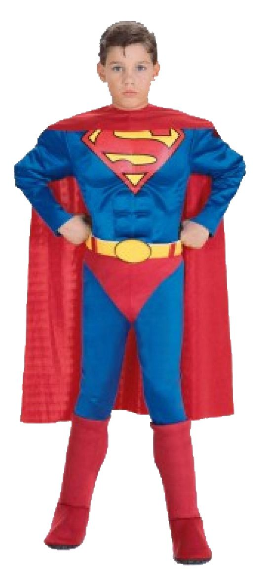 Boys Muscle Superman Costume, Comes with Muscle Chest Jumpsuit with attached boot tops, belt and cape. #FancyDress #Costume #Superhero #Licensed #Official #Boys #Children #Childs #Superman