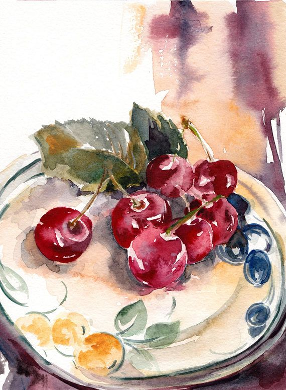 Cherries Original Watercolor Painting Still Life Painting