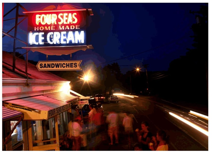 Since 1934, Four Seas has provided Cape Cod with the finest ice cream.  Old-fashioned ice cream sodas, frappes, and ice cream flavors like ginger, penuche pecan, cookie do, fresh peach, and black raspberry. Four Seas has been winning national and local competitions for decades, and has been named in the top ten ice creams in the country by several publications. #icecream