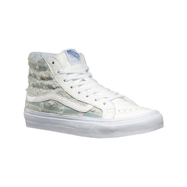 Vans Sk8-Hi Slim High Top - Frayed Native True White Casual Shoes ($45) ❤ liked on Polyvore featuring shoes, sneakers, casual footwear, casual shoes, high top skate shoes, white high tops, vans shoes, vans sneakers and white high top sneakers