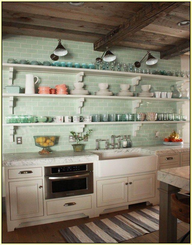 Ideas toger mint green subway tile backsplash kitchen for Green kitchen backsplash ideas