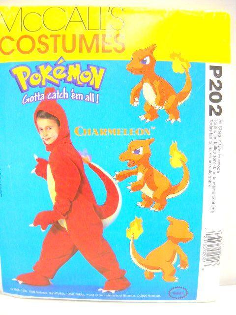 pokemon costume uncut sewing pattern mccalls charmeleon costume kids size