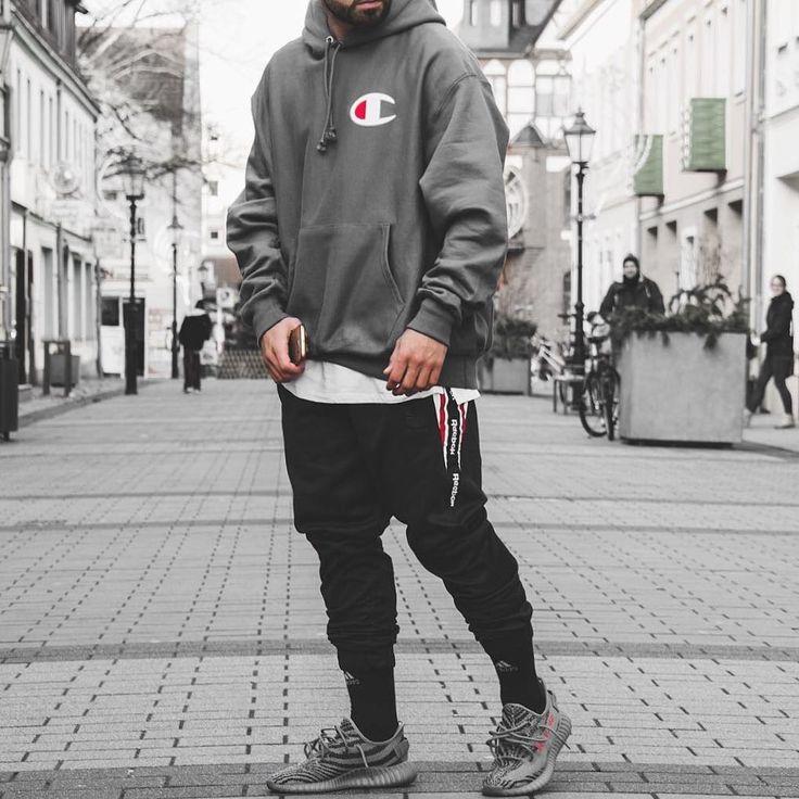 Champion hoody grey nike boost adidas bape pants