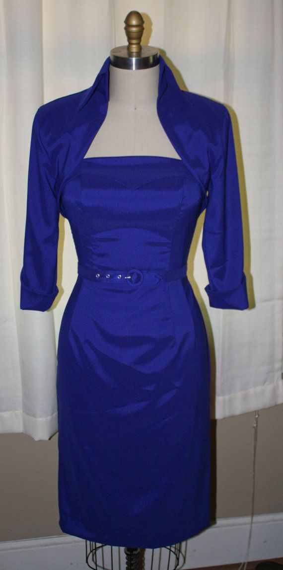 Lorelei Lee Pinup Royal Blue Wiggle Dress by Morningstar84 on Etsy, $235.00