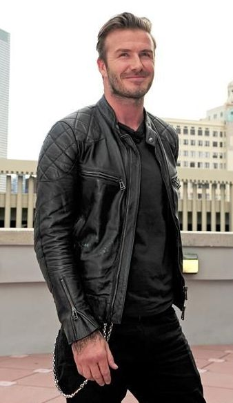 Looking for a similar black biker jacket as the one David Beckham is wearing