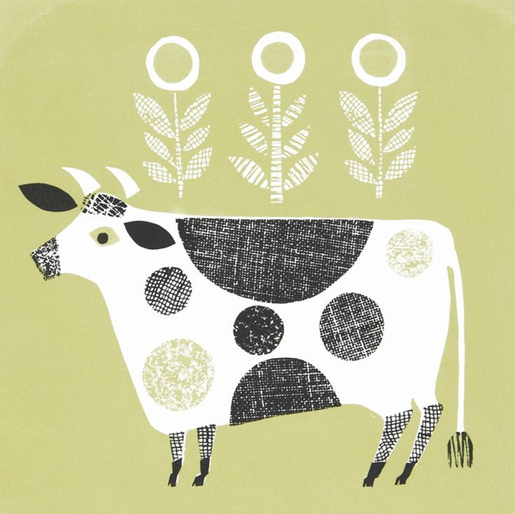 A shorthorn,name of Bjorn.Limited edition screenprint ,edition of 50,by Jane Ormes.