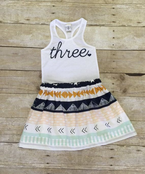 Fun Tribal Print Girls Birthday Outfit 3rd Birthday Shirt