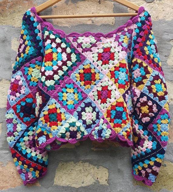 Granny Square top,Vintage top,crochet top,Hippie top,Gypsy top,patchwork top,boho crochet top,Spell & the Gypsy top,Spell and Gypsy top