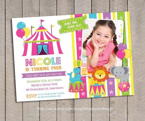 Pink Circus Invite / Carnival Invitation Circus Invitation Birthday ...