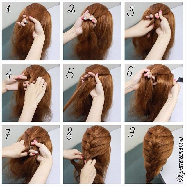 French Braid step by step 1. Take a section of hair 2. Divide into ...