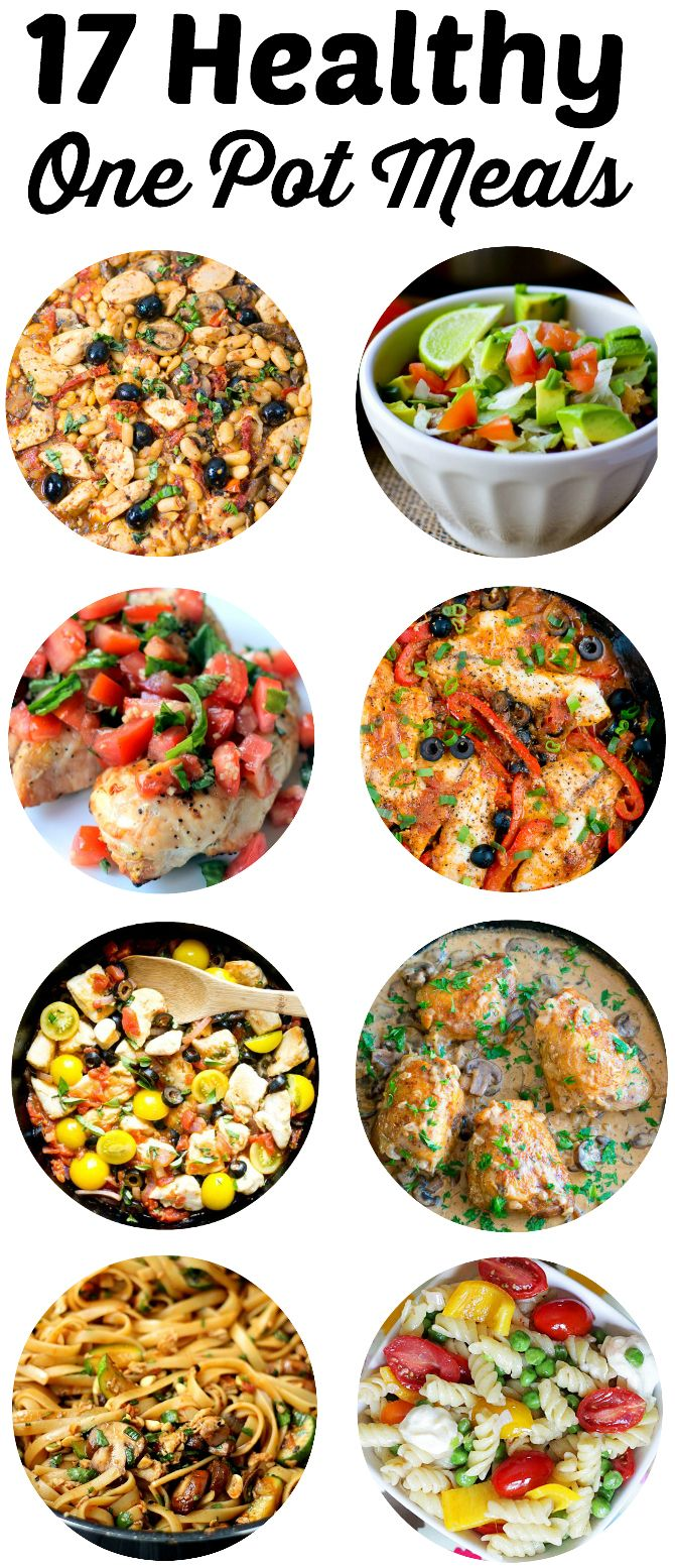 Cooking Healthy Recipes doesn't have to be a chore! Simplify your menu AND your clean up with these 17 easy and healthy one pot meal ideas!
