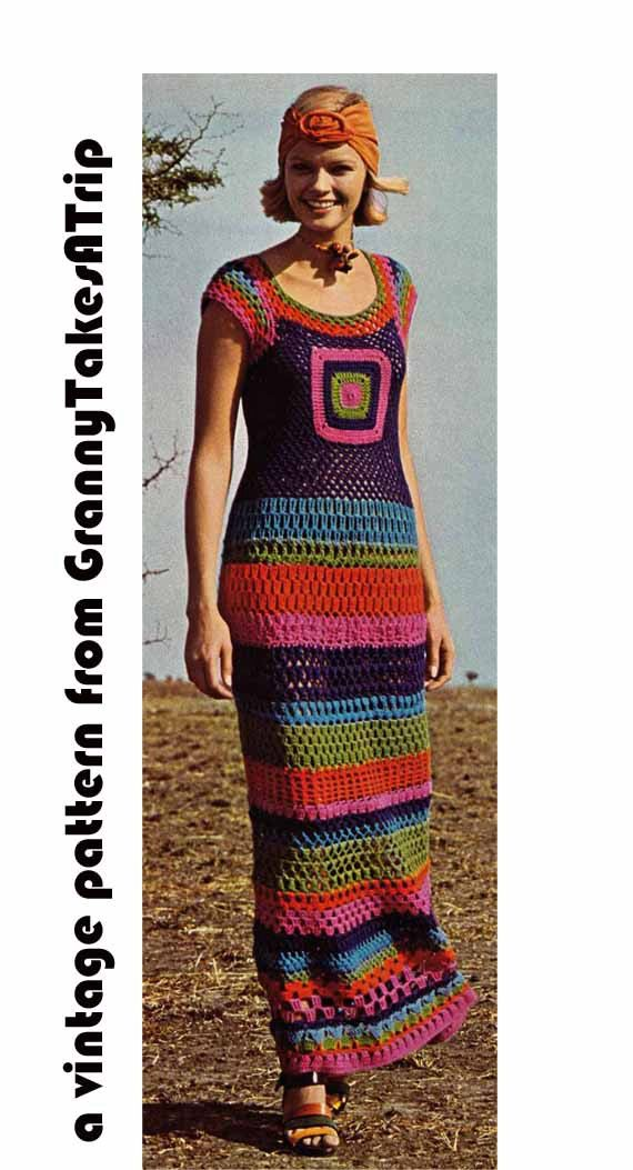 1970s Vintage Crochet Pattern Pdf - GRANNY SQUARE MAXI Dress, Boho/Retro/Folk, Instant Download Pdf from GrannyTakesATrip 0221a
