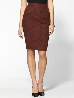 Professionelle: Red + Black Tweed Pencil Skirt