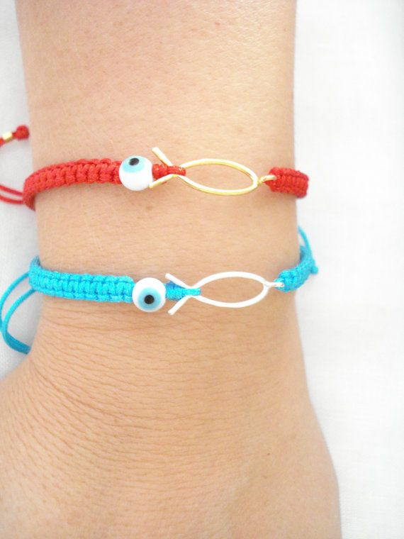 Fish evil eye bracelet Summer bracelet Unisex gifts by Poppyg